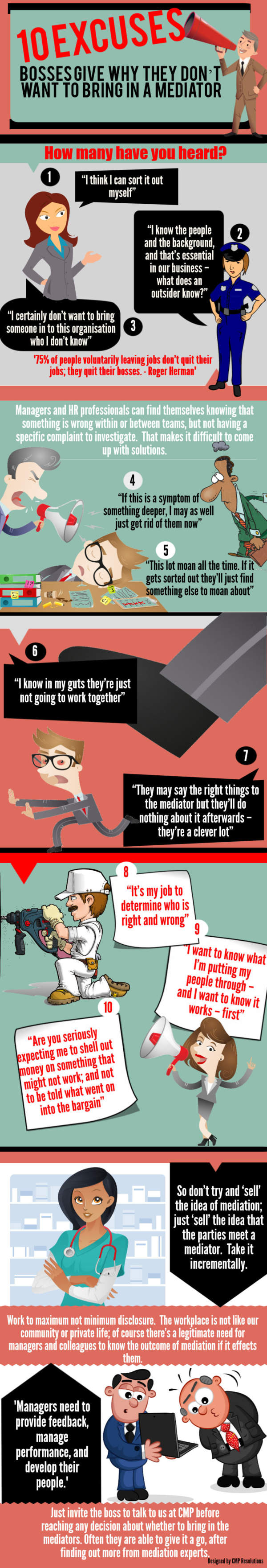 infographic detailing 10 reasons why bosses don't bring in mediators